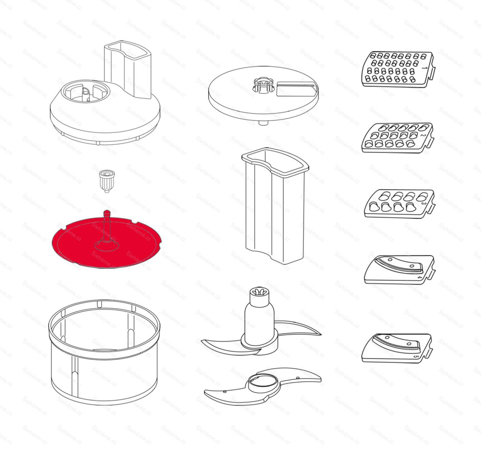 Plastový talíř s osou krouhače Bamix SliceSy